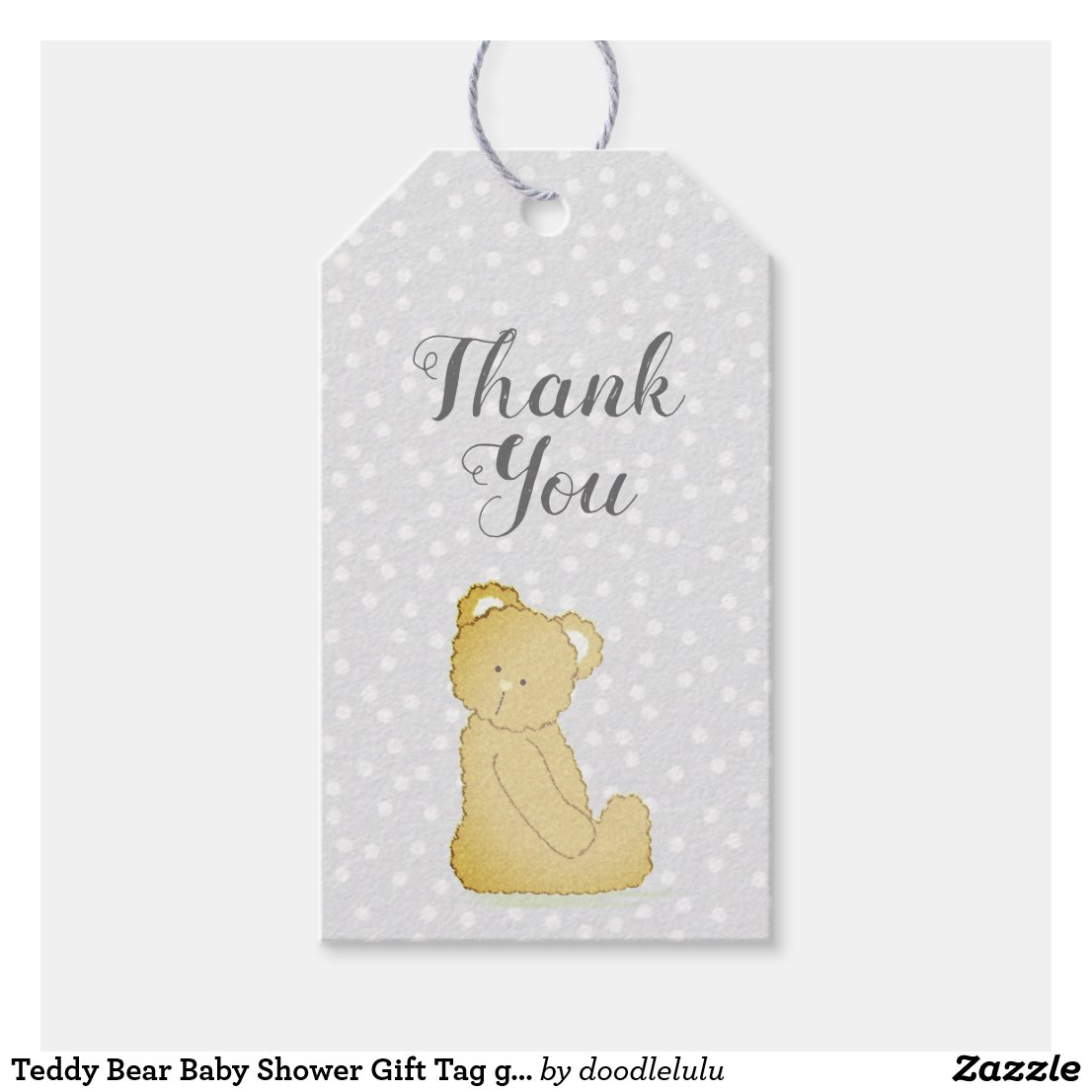 Teddy Bear Baby Shower Gift Tag gray and brown