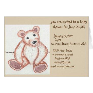 USA Themed teddy bear baby shower invitation