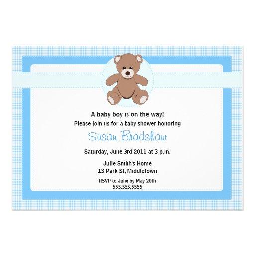 teddy bear baby shower invitation boy zazzle