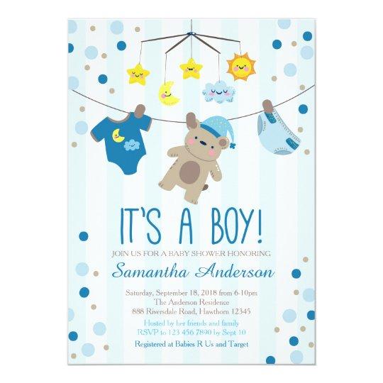 Teddy Bear Baby Shower Invitation boy baby shower Invitation