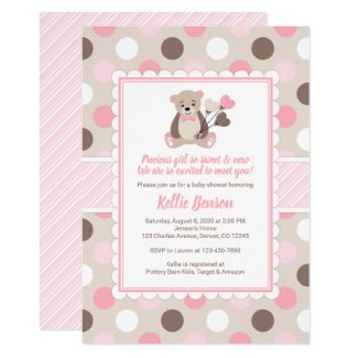 Teddy bear baby shower invitation templates girl pink brown