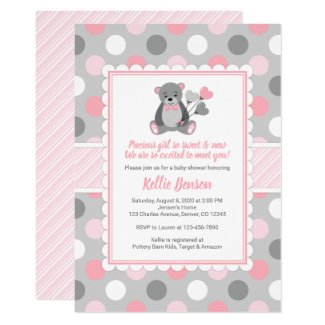 Pink and Gray Baby Shower Invitation Templates Teddy bear girl