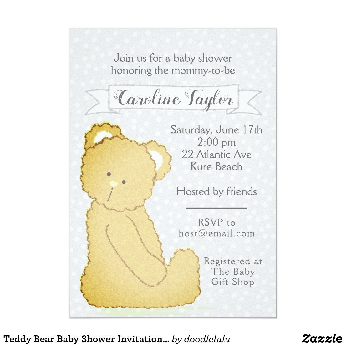 Teddy Bear Baby Shower Invitation gray and brown