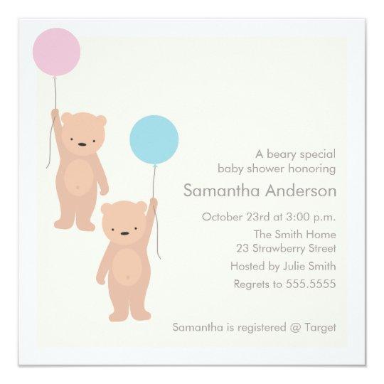 Teddy Bear Baby Shower Invitation Twin Boy Girl Zazzlecom