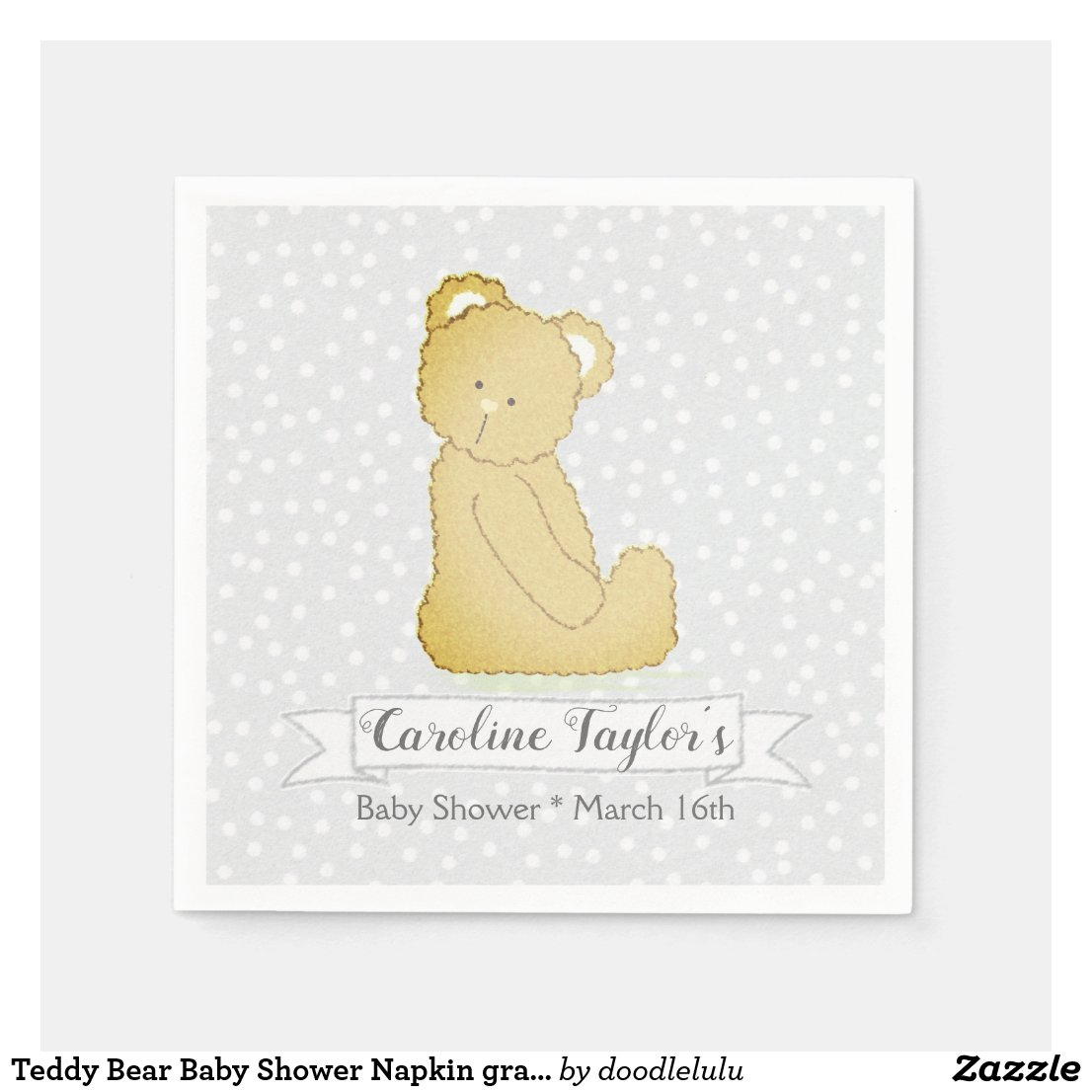 Teddy Bear Baby Shower Napkin gray and brown