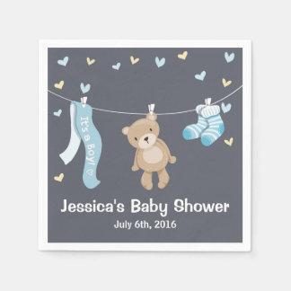 Teddy Bear Baby Shower Paper Napkin Boy Grey Blue
