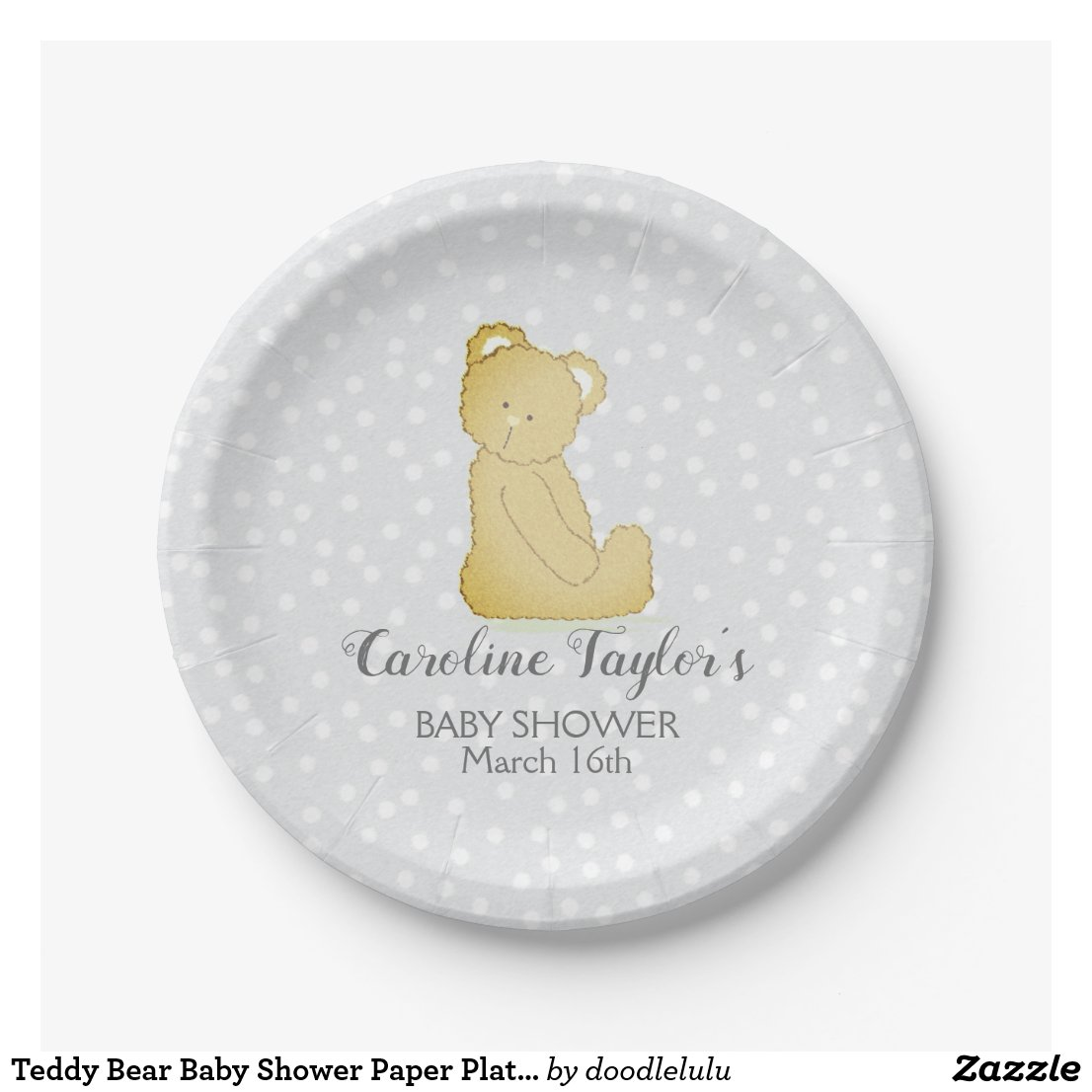 Teddy Bear Baby Shower Paper Plate gray and brown