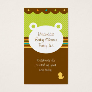 Teddy Bear Baby Shower Party Planner Business Card