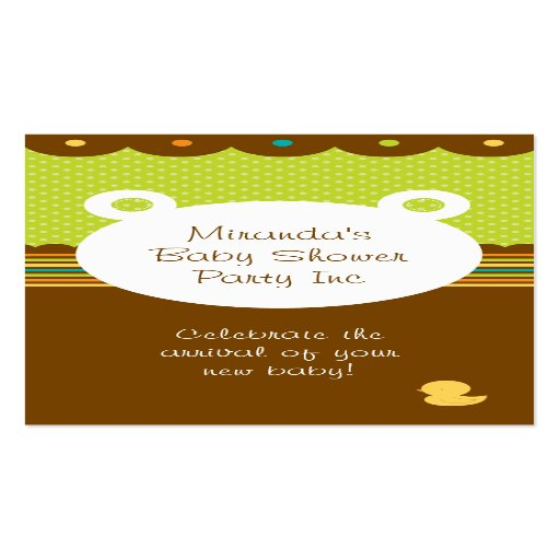 Teddy bear baby shower party planner double sided standard for Party planner business cards