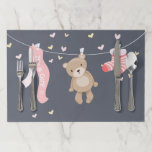 """Teddy Bear Baby Shower Placemats Girl Pink Grey<br><div class=""""desc"""">A wonderful addition to your party! Teddy Bear Baby Shower Party Theme.</div>"""