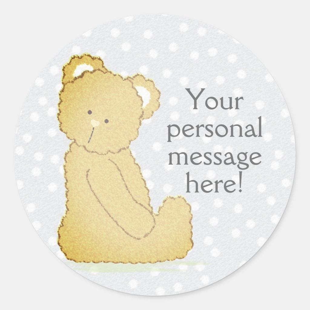 Teddy Bear Baby Shower Round Sticker gray & brown