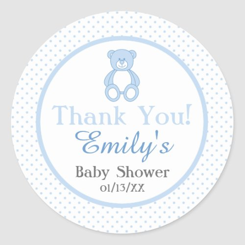 Teddy Bear Baby Shower Stickers _ Boy