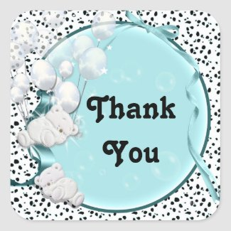 Teddy bear baby shower thank you square sticker