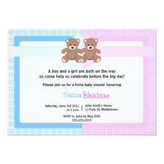 Teddy Bear Baby Shower - Twin Boy and Girl Card