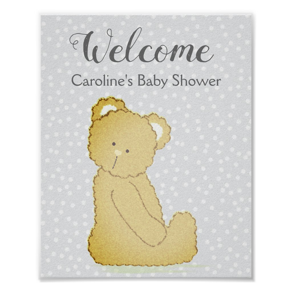 Teddy Bear Baby Shower Welcome Sign gray and brown