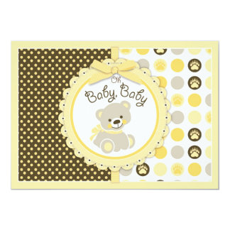 Teddy Bear Baby Shower Yellow Card
