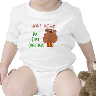 Teddy Bear Babys 1st Christmas Creeper, T Shirt