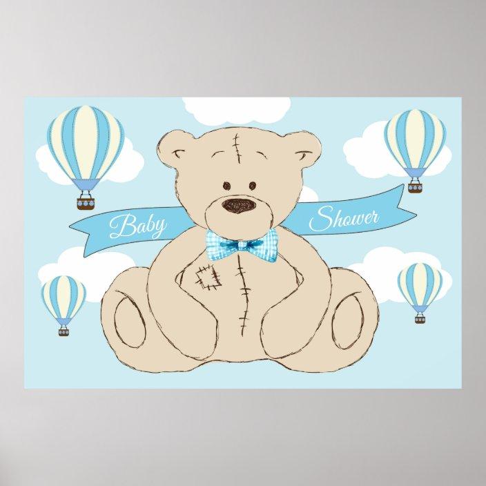 Teddy Bear Birthday Backdrop It/'s a Boy Teddy Bear Hot Air Balloon digital Blue Teddy Bear Backdrop Banner Teddy Baby Shower Backdrop