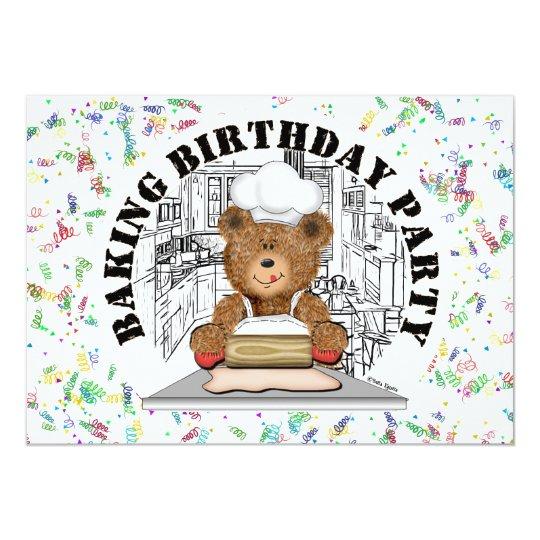 Teddy Bear Baking Party Card
