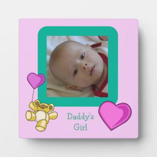 Teddy Bear Balloon Daddy's Girl Baby Photo Plaque