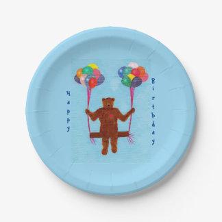 Teddy Bear Balloon Swing Birthday Plates 7 Inch Paper Plate