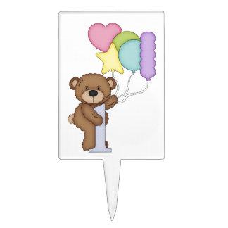 Teddy Bear Balloons Kids 1st Birthday Customizable Cake Topper