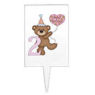 Teddy Bear Balloons Kids 2nd Birthday Customizable Cake Topper