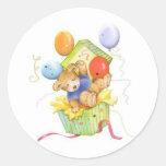 Teddy Bear & Balloons Round Stickers