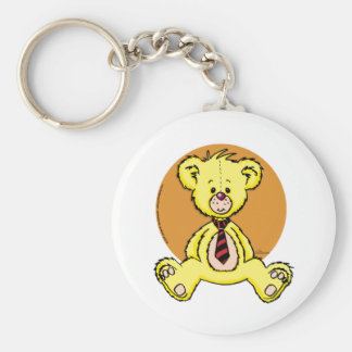 Teddy bear basic round button keychain