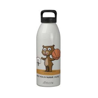 Teddy Bear Basketball Water Bottle