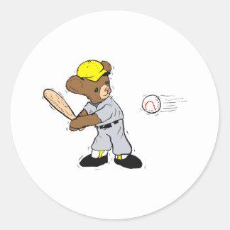 Teddy bear Batting Classic Round Sticker