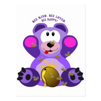 Teddy Bear Bee Kind Bee Loved Bee Happy Postcard