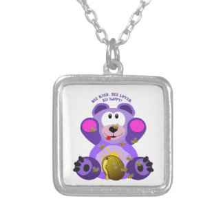 Teddy Bear Bee Kind Bee Loved Bee Happy Silver Plated Necklace