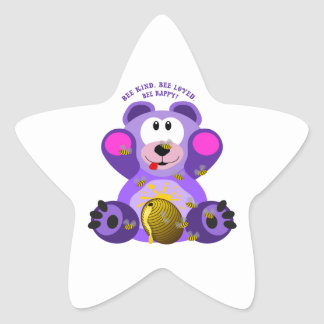 Teddy Bear Bee Kind Bee Loved Bee Happy Star Sticker