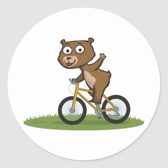 Teddy Bear Biker Classic Round Sticker