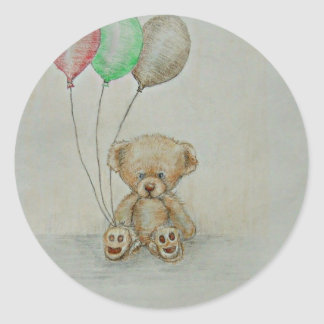 teddy bear birthday classic round sticker