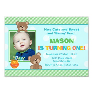 Teddy Bear Birthday Invitation 5x7 Photo Card
