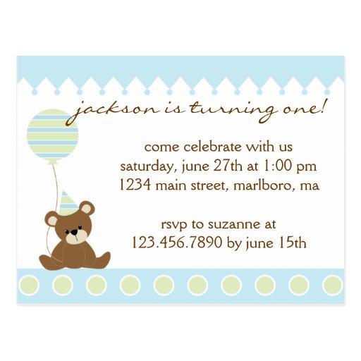 Teddy Bear Birthday Party Invitation Postcard