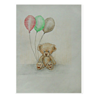 teddy bear birthday postcard
