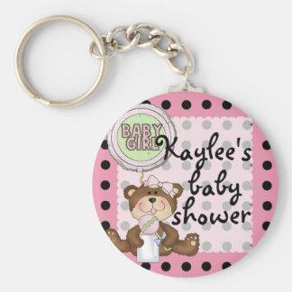 Teddy Bear Black Dot on Pink Basic Round Button Keychain
