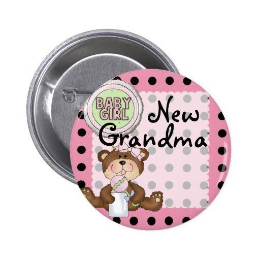 Teddy Bear Black Dot on Pink Pinback Button