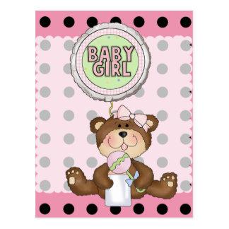 Teddy Bear Black Dot on Pink Postcard