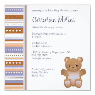 Teddy Bear Blue Baby Shower Invitation