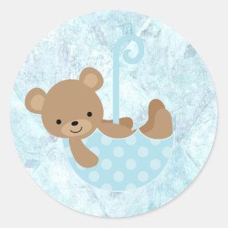 Teddy Bear Blue Baby Shower Stickers