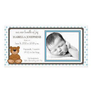 Teddy Bear Blue Customized Birth Announcement