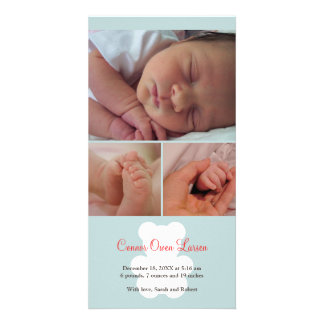 Teddy bear blue montage baby birth announcement photo card
