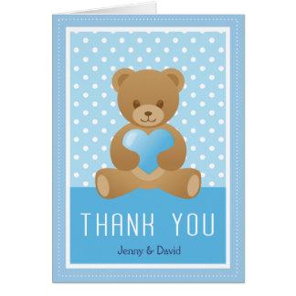 Teddy bear blue thank you card