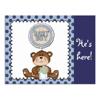 Teddy Bear Blue with Black Boy Postcard