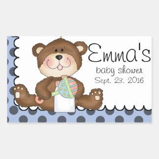 Teddy Bear Blue with Black Boy Rectangular Sticker