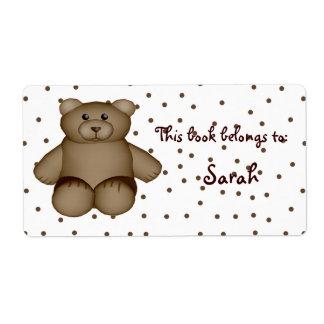 Teddy Bear Book Plate Label
